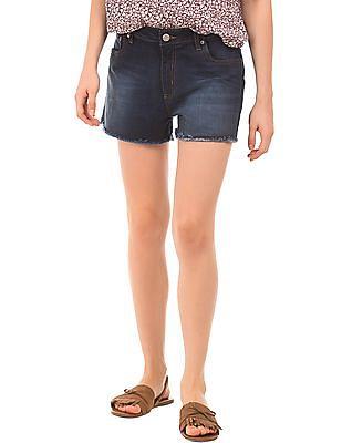 Aeropostale Raw Hem Dark Wash Denim Shorts