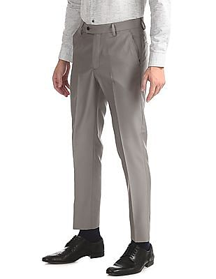 Arrow Grey Tapered Fit Patterned Trousers