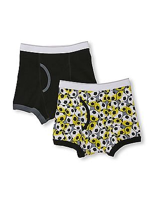 The Children's Place Boys Solid And Soccer Print Boxer Briefs 2-Pack