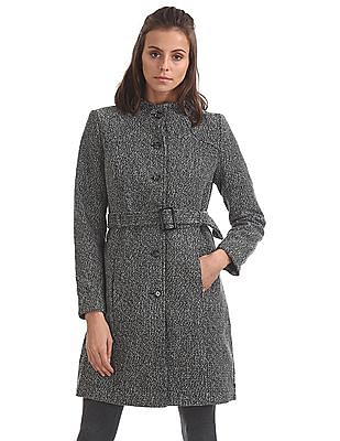 U.S. Polo Assn. Women Patterned Belted Trench Coat