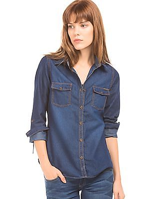 Flying Machine Women Washed Chambray Shirt