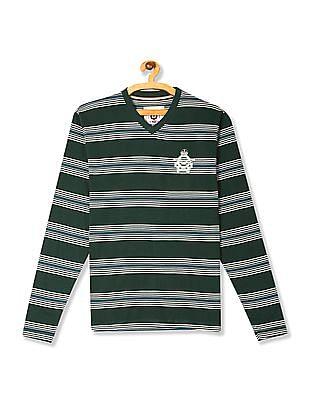 Flying Machine Green V-Neck Long Sleeve T-Shirt