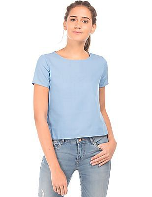 Flying Machine Women Round Neck Boxy Top