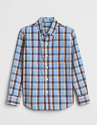 GAP Poplin Plaid Long Sleeve Shirt
