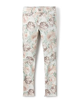 The Children's Place Girls Mid Rise Floral Print Jeans