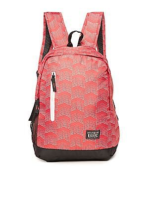 Flying Machine Contrast Trim Printed Laptop Backpack