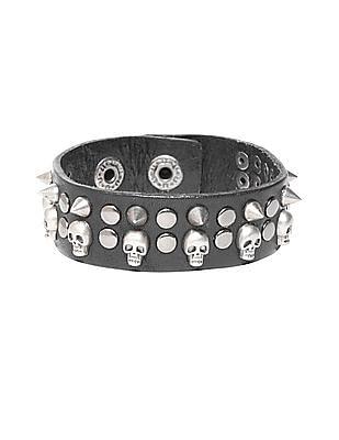 Ed Hardy Spiked Skull Leather Bracelet