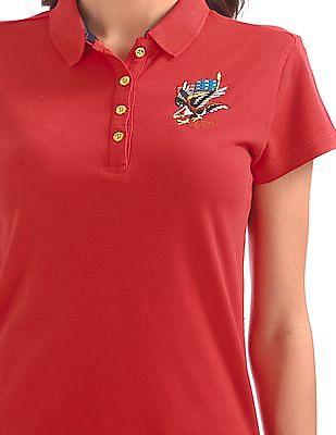 EdHardy Women Applique Patch Pique Polo Shirt