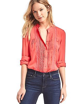 GAP Lace Panel Pintuck Dobby Blouse