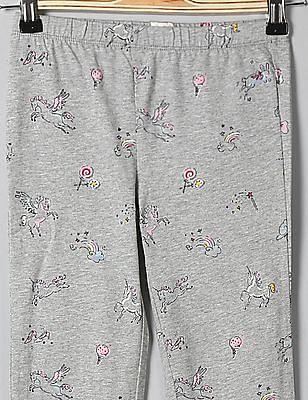 GAP Girls Grey Print Leggings In Soft Terry