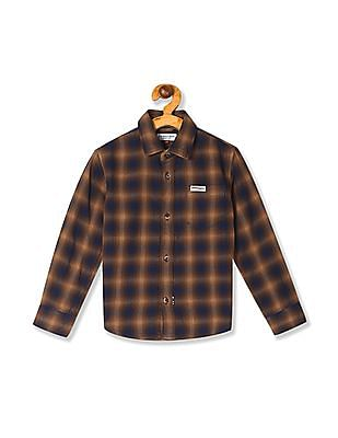 U.S. Polo Assn. Kids Brown Boys Check Cotton Shirt