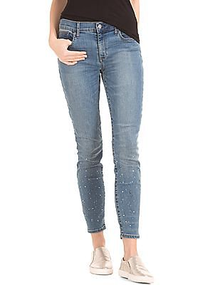 GAP 1969 Stretch Embellishment True Skinny Ankle Jeans