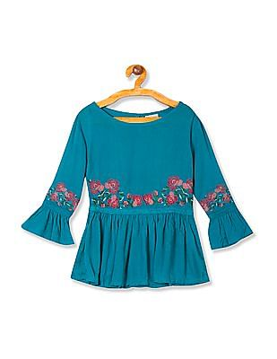 Cherokee Girls Floral Embroidered Crinkled Tunic