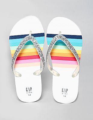 GAP Girls Glitter Rainbow Flip Flops