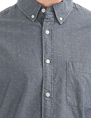 Aeropostale Patterned Chambray Shirt