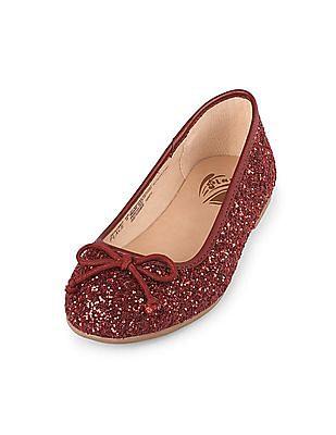 The Children's Place Girls Glitter Bow Audrey Ballet Flat
