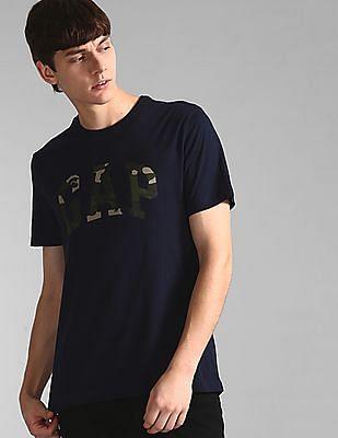 GAP Men Blue Camo Print Logo Crew Neck T-Shirt