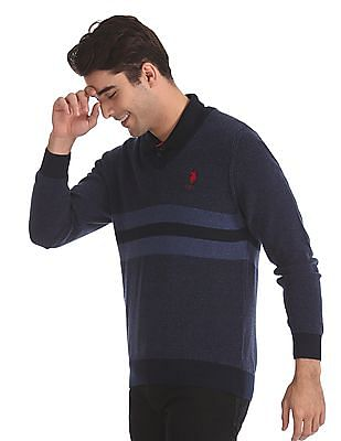 U.S. Polo Assn. Blue Tonal Stripe V-Neck Sweater