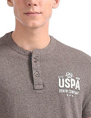 U.S. Polo Assn. Denim Co. Short Sleeve Heathered Henley T-Shirt
