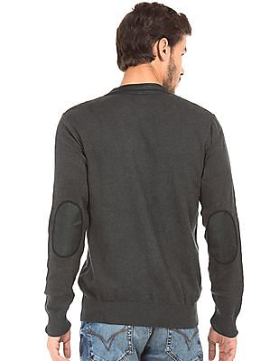 Flying Machine Pleather Trim Sweater Jacket