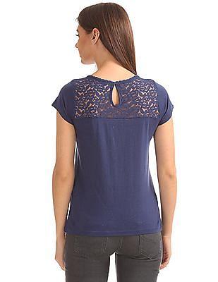 SUGR Speckled Knit Lace Yoke Top