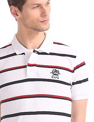 U.S. Polo Assn. White Regular Fit Striped Polo Shirt