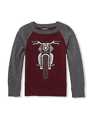 The Children's Place Boys Bike Intarsia Knit Sweater