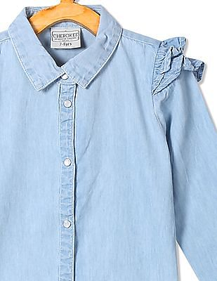 Cherokee Girls Ruffle Trim Chambray Shirt