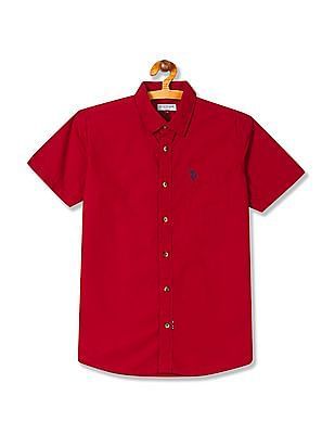U.S. Polo Assn. Kids Boys Spread Collar Solid Shirt