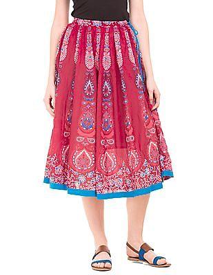 Bronz Printed Cotton Midi Skirt