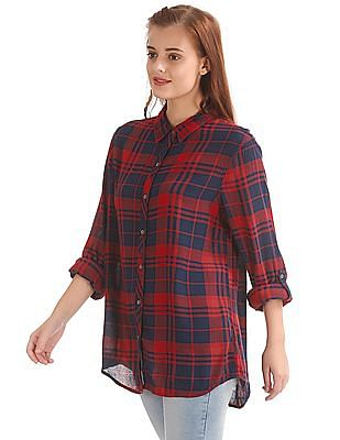 Flying Machine Women Slightly Relaxed Fit Check Shirt