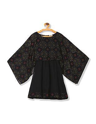 Cherokee Girls Contrast Print Blouson Dress