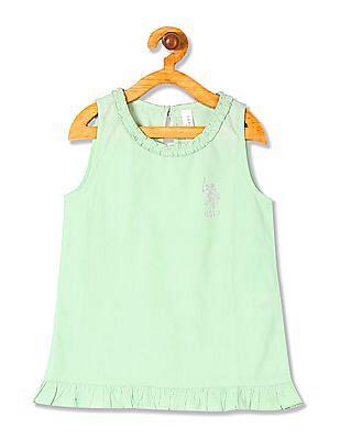 U.S. Polo Assn. Kids Girls Standard Fit Ruffled Top