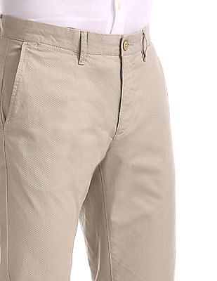 U.S. Polo Assn. Beige Austin Trim Regular Fit Printed Trousers