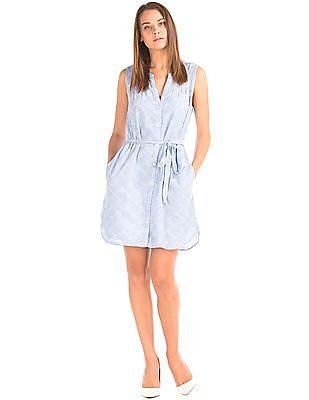 GAP Women Blue Schiffli Embroidered Belted Shirt Dress
