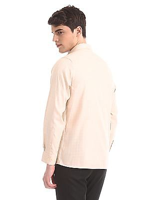 Arrow Orange French Placket Check Shirt
