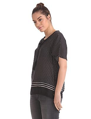 U.S. Polo Assn. Women Notched Neck Printed Peasant Top
