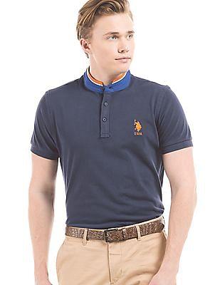 U.S. Polo Assn. Slim Fit Mandarin Collar Polo Shirt