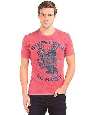 Ed Hardy Eagle Print Washed T-Shirt