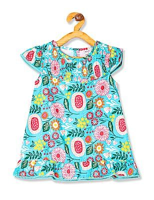 Donuts Girls Pom Pom Trim Printed Dress