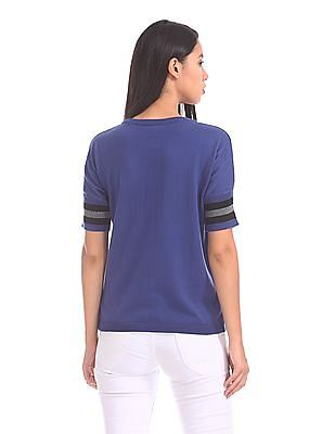 U.S. Polo Assn. Women Striped Sleeve Knit Top