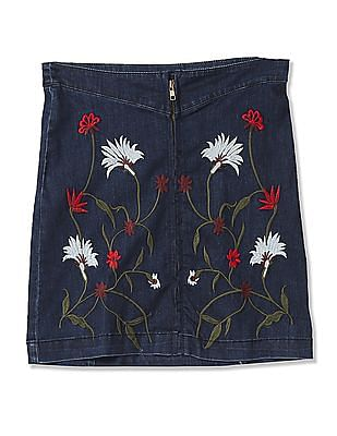Cherokee Girls Embroidered Denim Skirt
