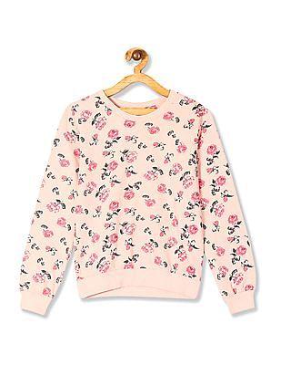Cherokee Girls Floral Print Crew Neck Sweatshirt