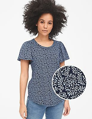GAP Print Flutter Sleeve T-Shirt in Slub Cotton
