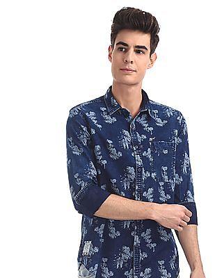 Ed Hardy Blue Round Cuff Printed Shirt