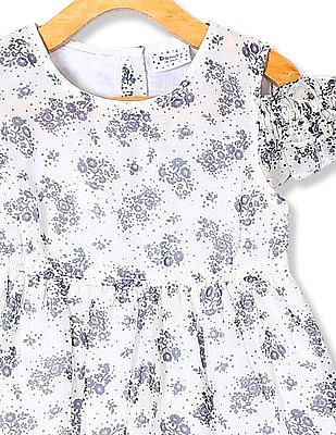 Donuts Girls Floral Print Fit And Flare Dress