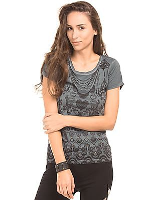 EdHardy Women Mesh Panel Printed Top