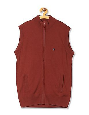 Izod Zip Up Sleeveless Cardigan
