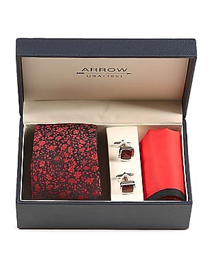 Arrow Red Tie Pocket Square And Cufflinks Set