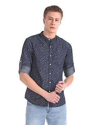 Cherokee Mandarin Collar Printed Shirt